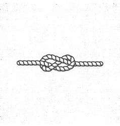 Nautical rope knot symbol on vintage roughen style vector image