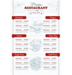 Restaurant vertical scetch menu vector image