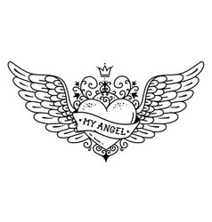 tattoo flying heart with crown and forged ornament vector image