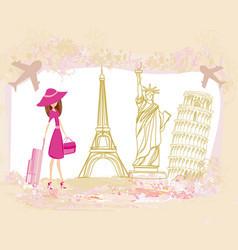 Travel girl design with different monuments vector