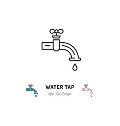 Water tap icon plumbing symbol thin line vector