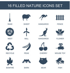 16 nature icons vector