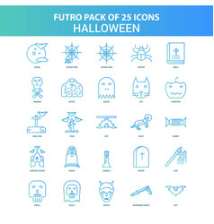 25 green and blue futuro halloween icon pack vector