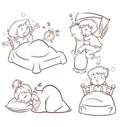 A plain sketch kids sleeping and waking up vector