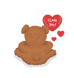 a teddy bear with hearts i love you template vector image