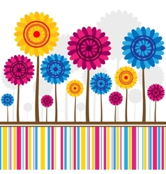 abstract flowers different colors with lines vector image