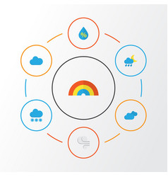 Air flat icons set collection of storm bow drop vector