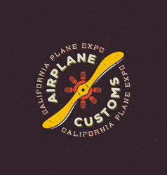 airplane customs retro label sign or logo vector image