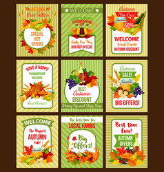 autumn sale poster of thanksgiving special offer vector image