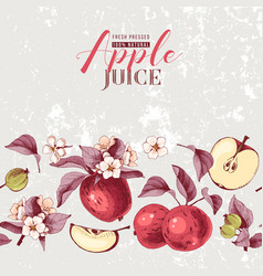 Background with hand drawn apple border vector