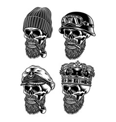 bearded skull characters collection vector image