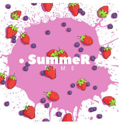 Beautiful strawberries and blueberries vector
