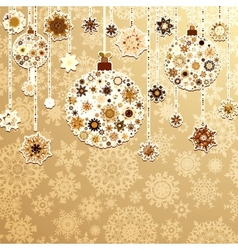 Beige background with christmas balls EPS 8 vector image