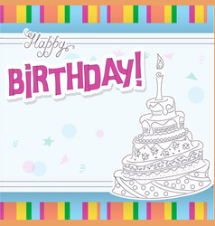 birthday card with outline doodle cake vector image