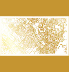Bogota colombia city map in retro style in golden vector
