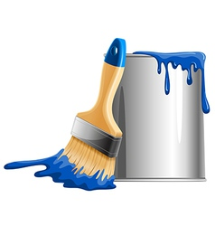 Bucket paint and brush vector