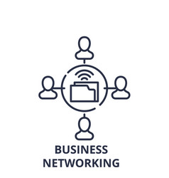 business networking line icon concept business vector image