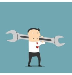 Businessman with huge wrench on shoulder vector