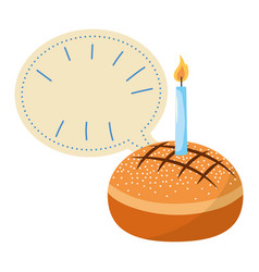 cake with candle and blank bubble speech vector image