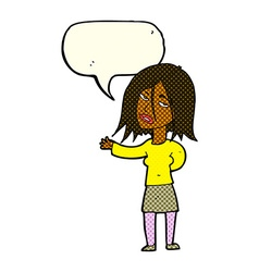 Cartoon unhappy woman with speech bubble vector