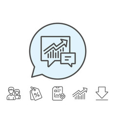Chart line icon report graph in speech bubble vector