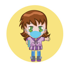 Chibi girl wearing a surgical mask vector