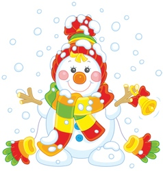 Christmas Snowman with a bell vector