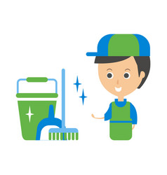 Cleanup service worker and clean floor cleaning vector