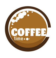 coffee time logo for cafe with cup caffeinated vector image