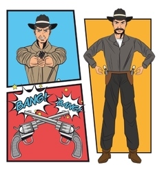 Cowboy comic bubble cartoon design vector image