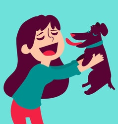 Cute Girl Holding Dog vector image