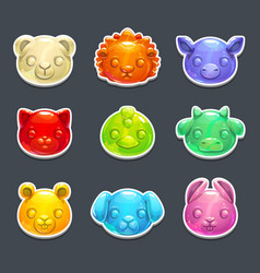 cute jelly animals faces vector image