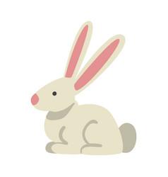 Cute white rabbit farm animal livestock cartoon vector