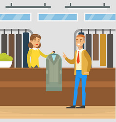 Dry cleaning shop woman employee giving clean vector