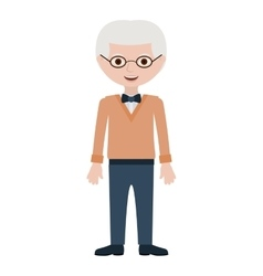 Elderly man with bowtie and glasses vector
