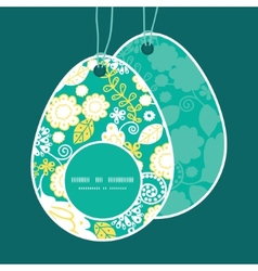 Emerald flowerals easter egg shaped tags vector