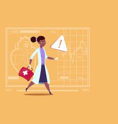 Emergency female doctor african american run vector