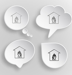 Family White flat buttons on gray background vector image