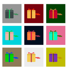flat assembly icons of gift box black friday vector image