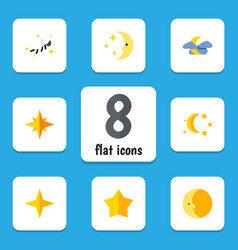 Flat icon midnight set of bedtime star midnight vector