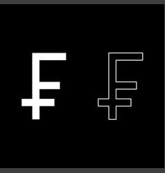franc symbol icon set white color flat style vector image