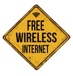 Free wireless internet vintage rusty metal sign vector