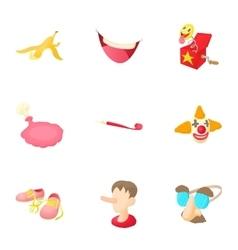 Funny joke icons set cartoon style vector