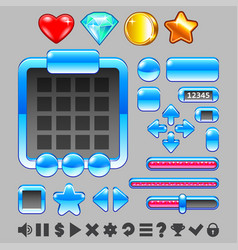 Game interface buttons and items ui set vector
