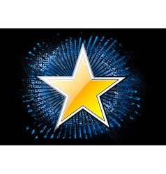 gold star on the black background vector image
