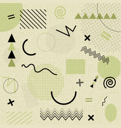 Green abstract geometric chaotic pattern memphis vector