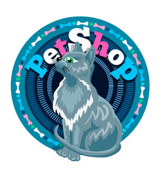 grey slim cat is sitting in front of logo vector image