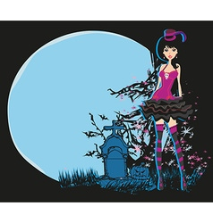 Halloween invitation with beautiful witch vector