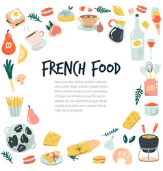 Hand drawn banner background with french food vector
