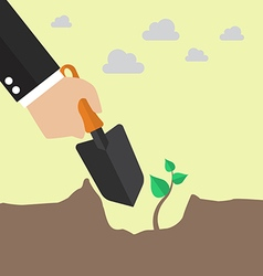 Hand planting a tree vector